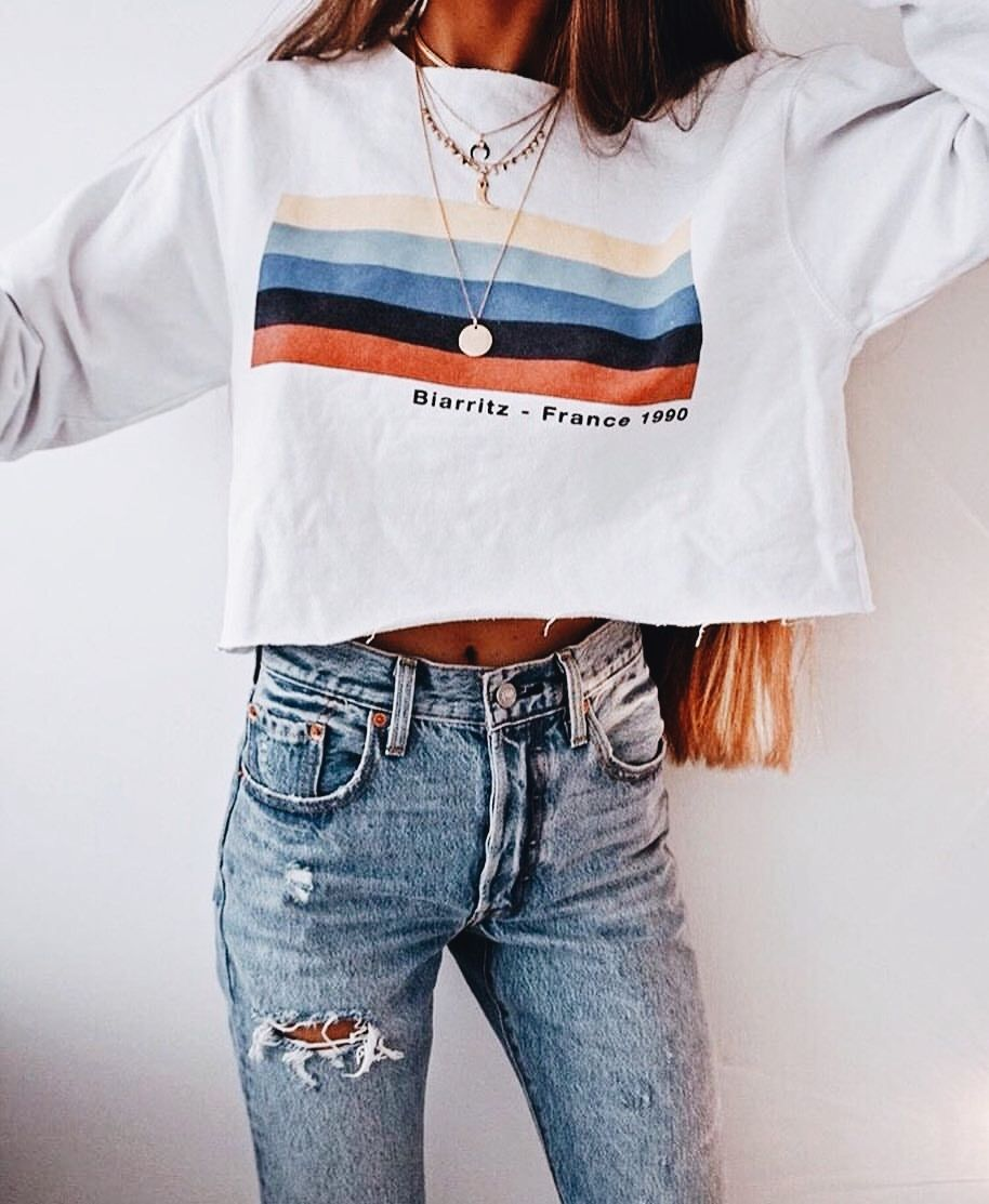 Pinterest Mariaherediacolaco Striped Sweatshirts Cute Outfits Clothes [ 1113 x 914 Pixel ]