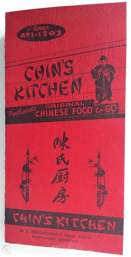 1960's Vintage Chinese Food Menu CHIN'S KITCHEN Portland