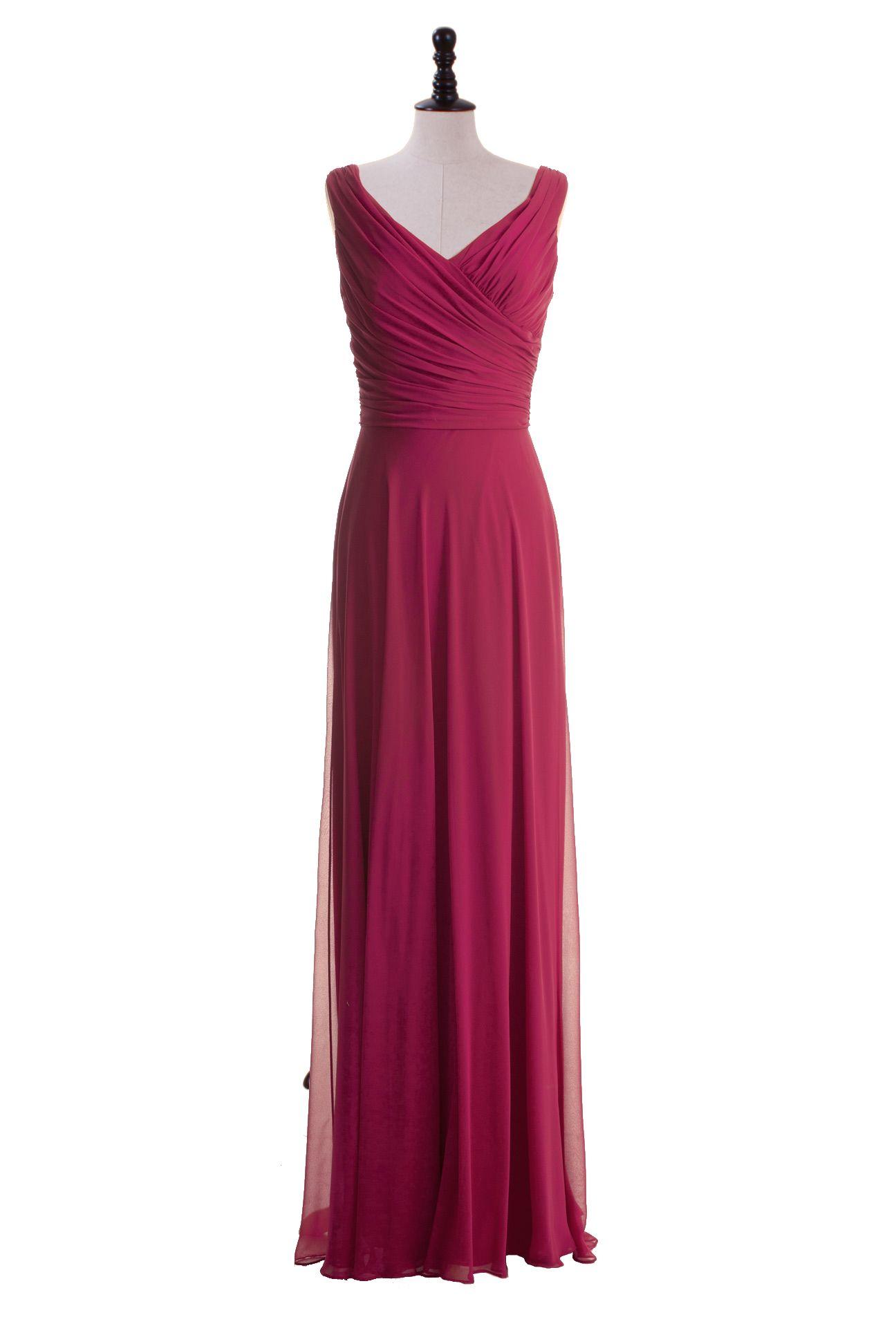 Simple Floor Length V-Neck Chiffon Gown  Chiffon, Vestiti, Abiti