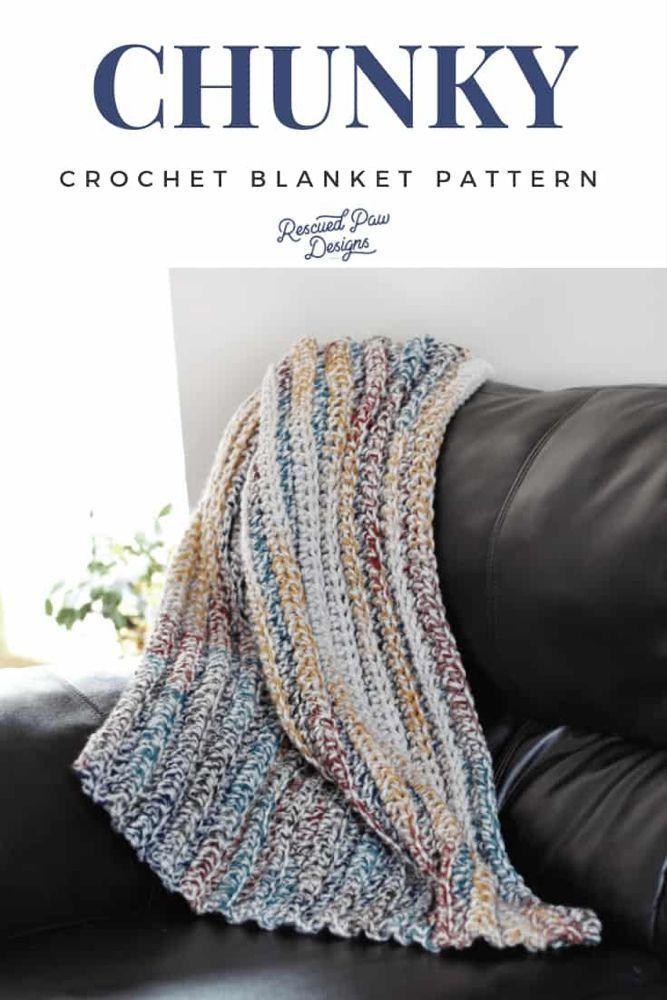 Chunky Yarn Crochet Afghan - Easy Super Chunky Blanket Pattern  Make this simple but chunky crochet blanket pattern today! Free Crochet Pattern from Rescued Paw De #Afghan #Blanket #Chunky #crochet #easy #Pattern #super #Yarn #crochet patterns free blanket chunky granny squares #crochet patterns free blanket chunky simple