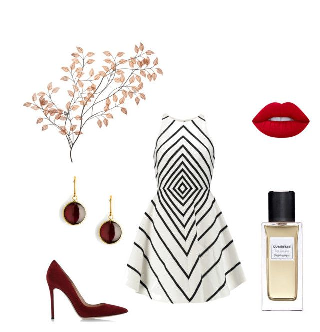"""""""Little French dress"""" by hjarnoe on Polyvore featuring Halston Heritage, Lime Crime, Gianvito Rossi, Yves Saint Laurent and Syna"""