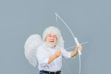 Handsome male angel Cupid. Bearded man with angel wings. Valentines day card. Valentines Day. Angel man with white wings. Cupid with bow and arrows. Love concept. Valentine angel. Valentines cupid. , #affiliate, #wings, #man, #day, #Valentines, #Bearded #Ad