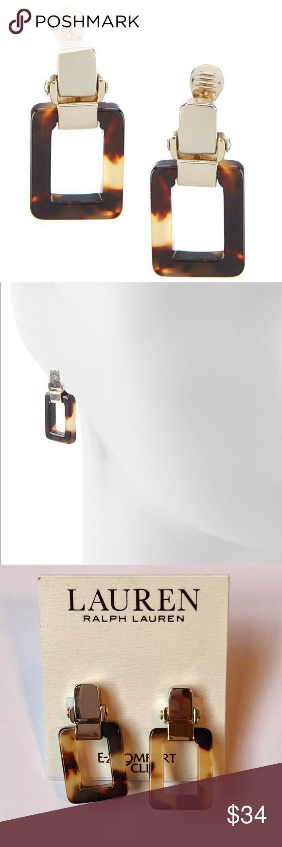 NWT Ralph Lauren Tortoise Earrings Beautiful Tortoise with gold clip earrings. R…,  #Beauti…
