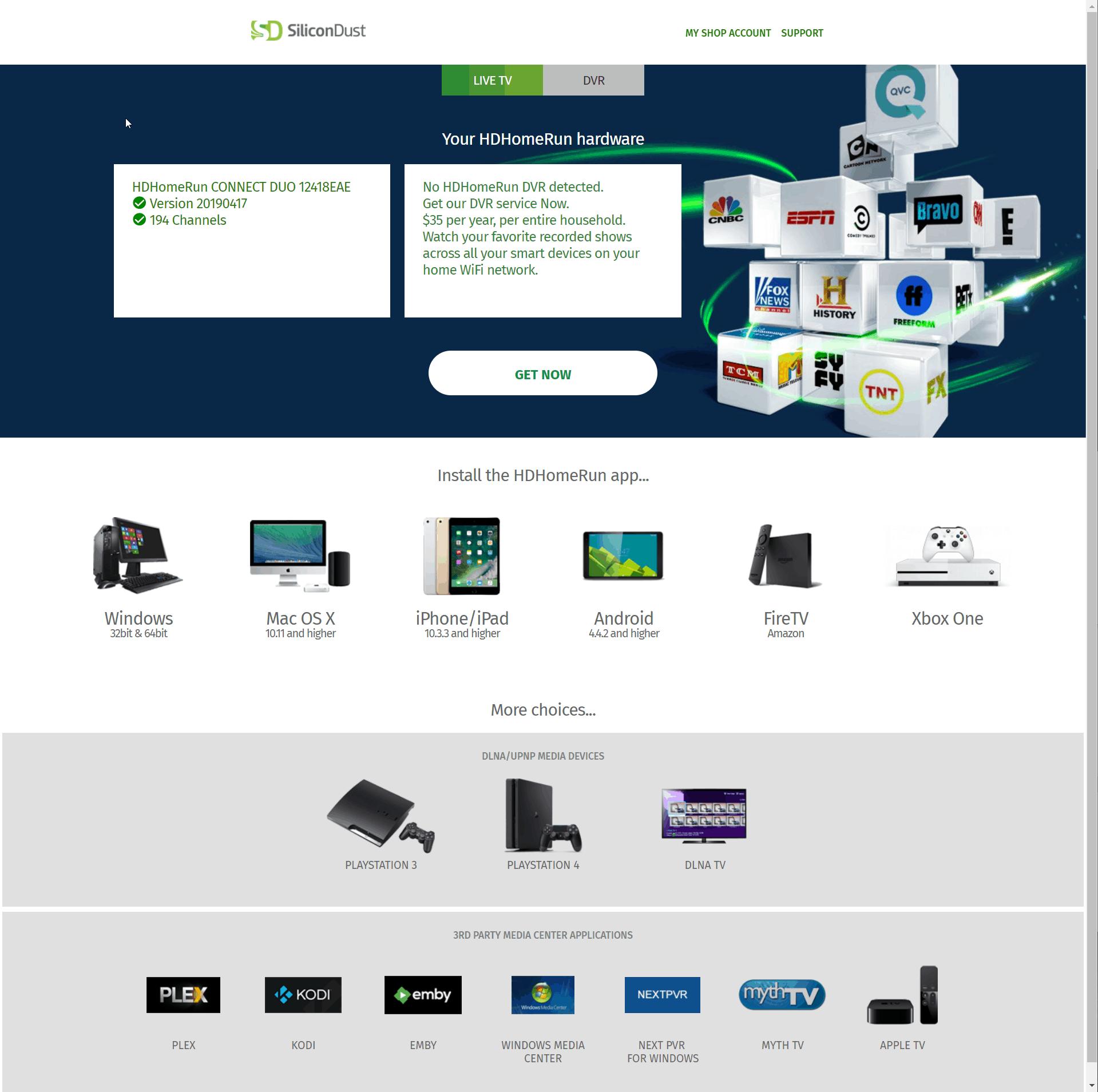 Nvidia Shield with Plex Server and live TV via HDHomeRun Guide