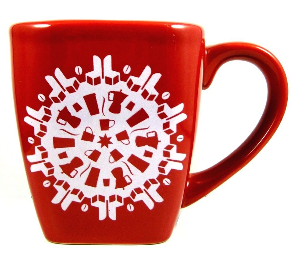 Starbucks Xmas 2004 Mug New Red Snowflake Coffee Pots Chairs Cups Hidden Picture Mugs Starbucks Mugs Green Tea Cups
