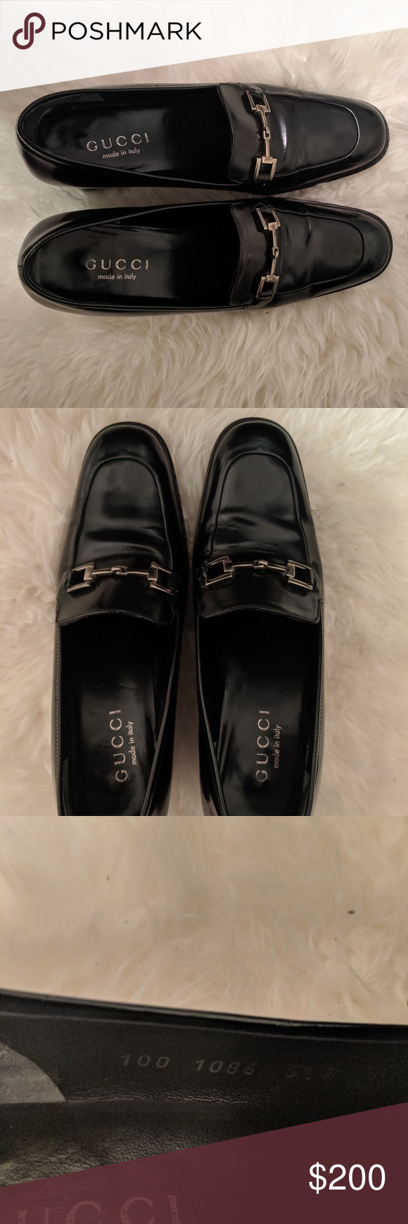 AUTHENTIC GUCCI LOAFERS in black patent leather AUTHENTIC PATENT LEATHER GUCCI LOAFERS size 5 12 B but would best fit a size 6 In nearly new condition only worn twice Lig...