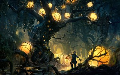 Adventurer Through The Enchanted Forest Wallpaper Fantasy Landscape Fantasy Artwork Fantasy Forest