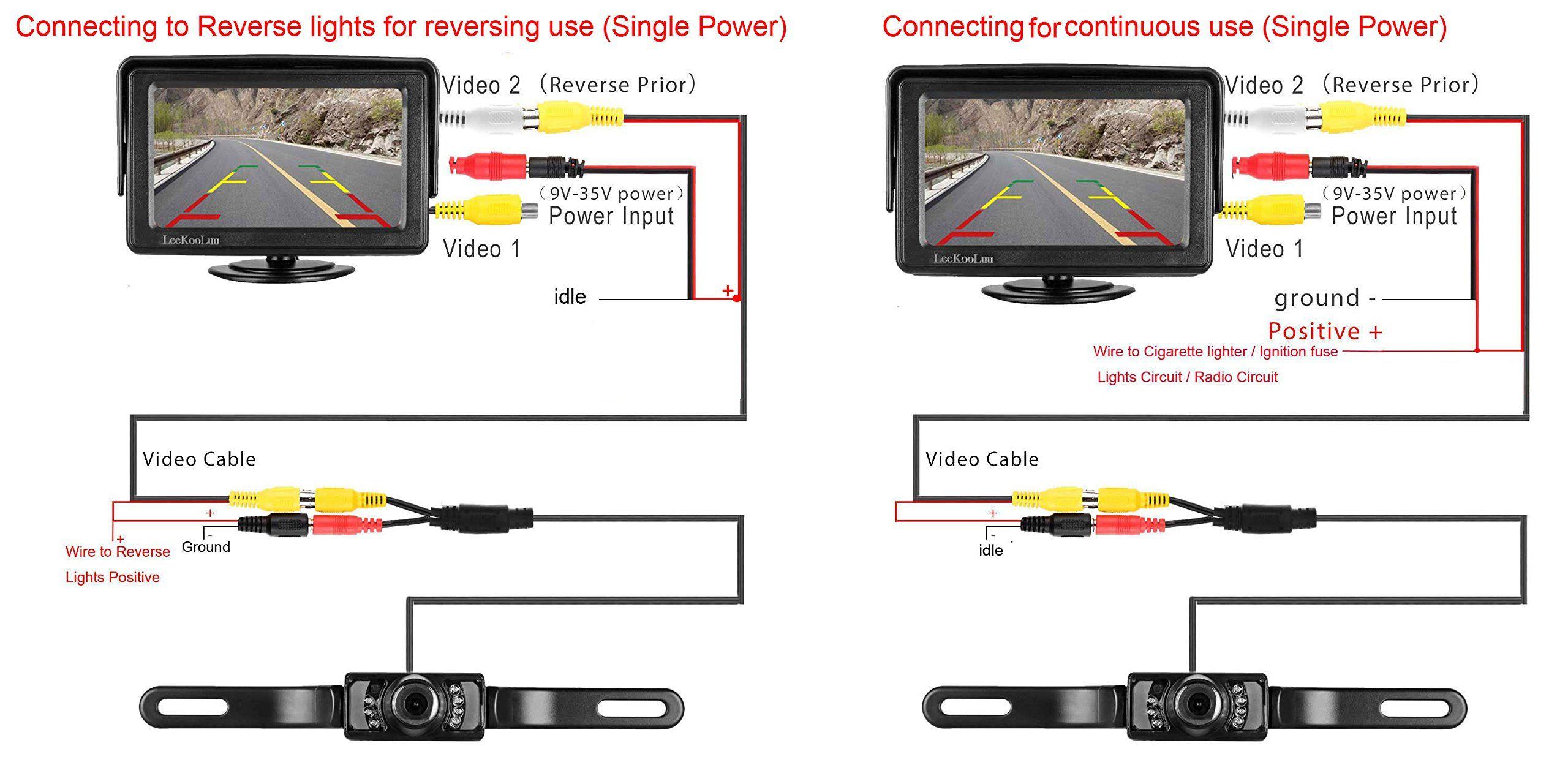 Leekooluu Backup Camera And Monitor Kit For Car Rv Truck Pickup Van Camper Waterproof Night Vision Rear View Camera Backup Camera Front View Camera Car Camera