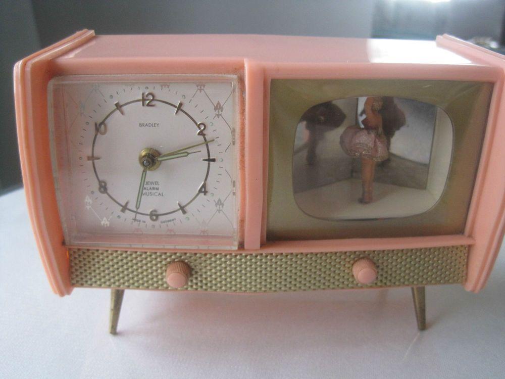 Vtg German Pink Bakelite Bradley Dancing Ballerina Musical Wind Up Alarm Clock Unique Alarm Clocks Novelty Clocks Vintage Clock