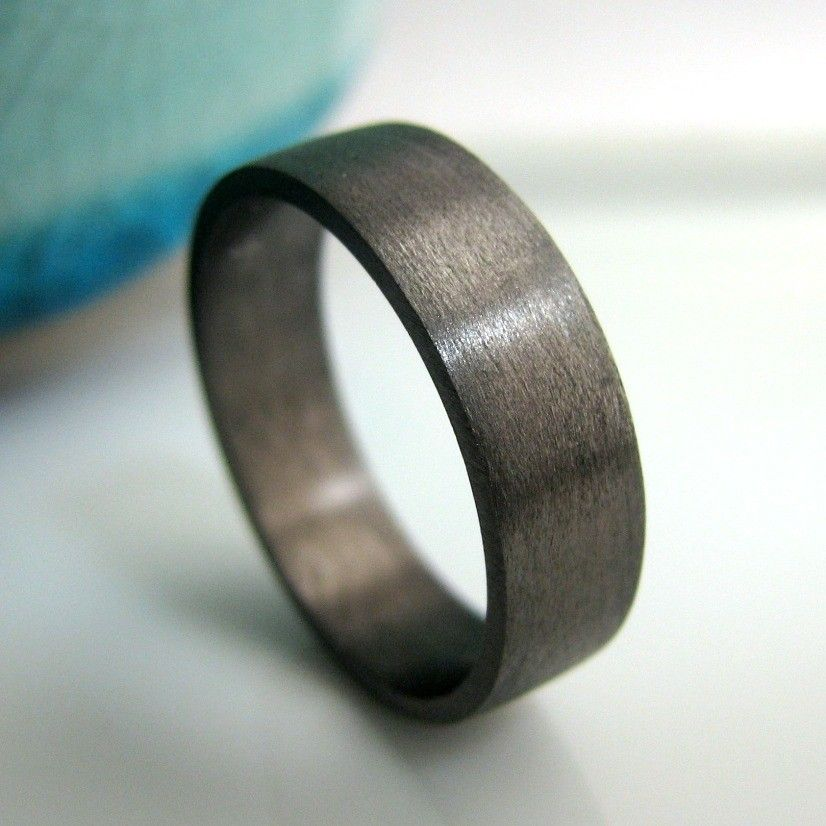5mm 6mm Wedding Band Black Gold Plated Over 925 Sterling