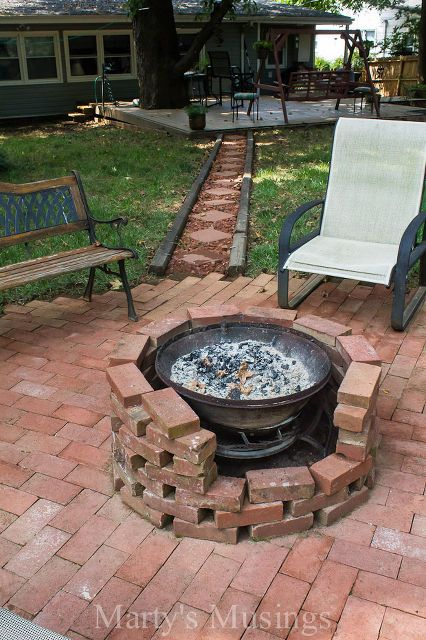 Check Out This Fire Pit Made With Free Brick And An Old Chimenea