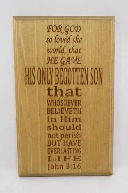 Wood Plaque For God So Loved The World Primitive Country Wall Decor ...
