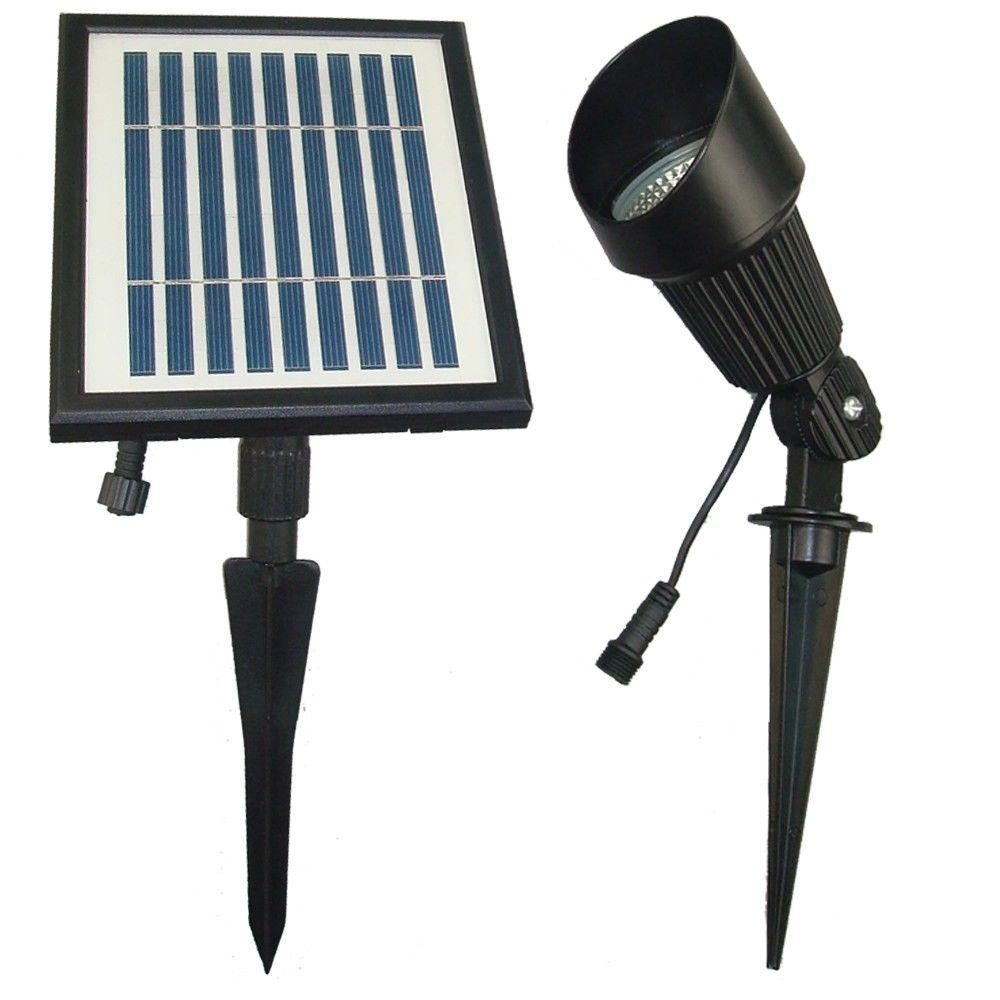 Solar Goes Green Solar Powered Black Outdoor Spot Light with Warm ...