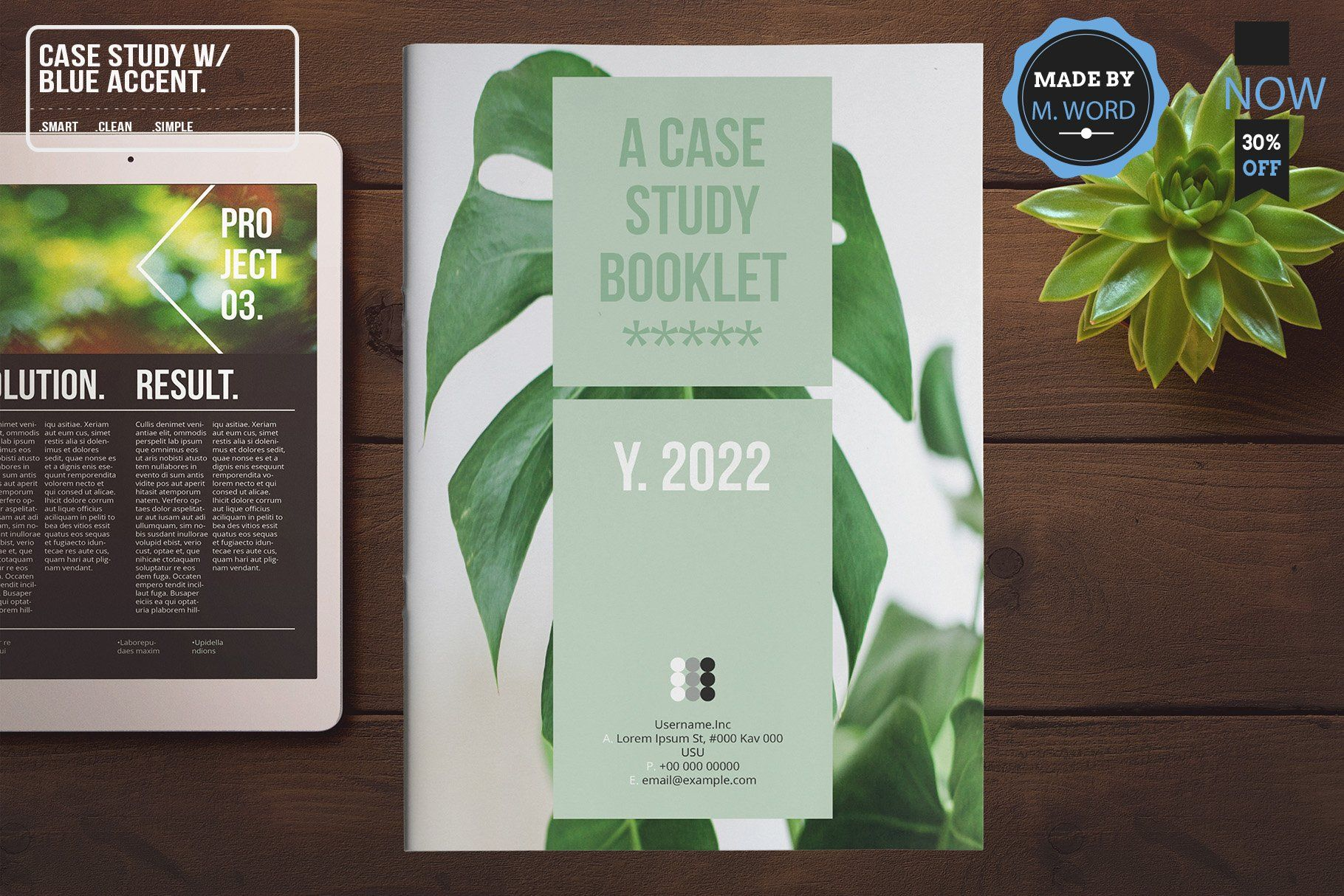 Case study with blue accent layout sponsored word
