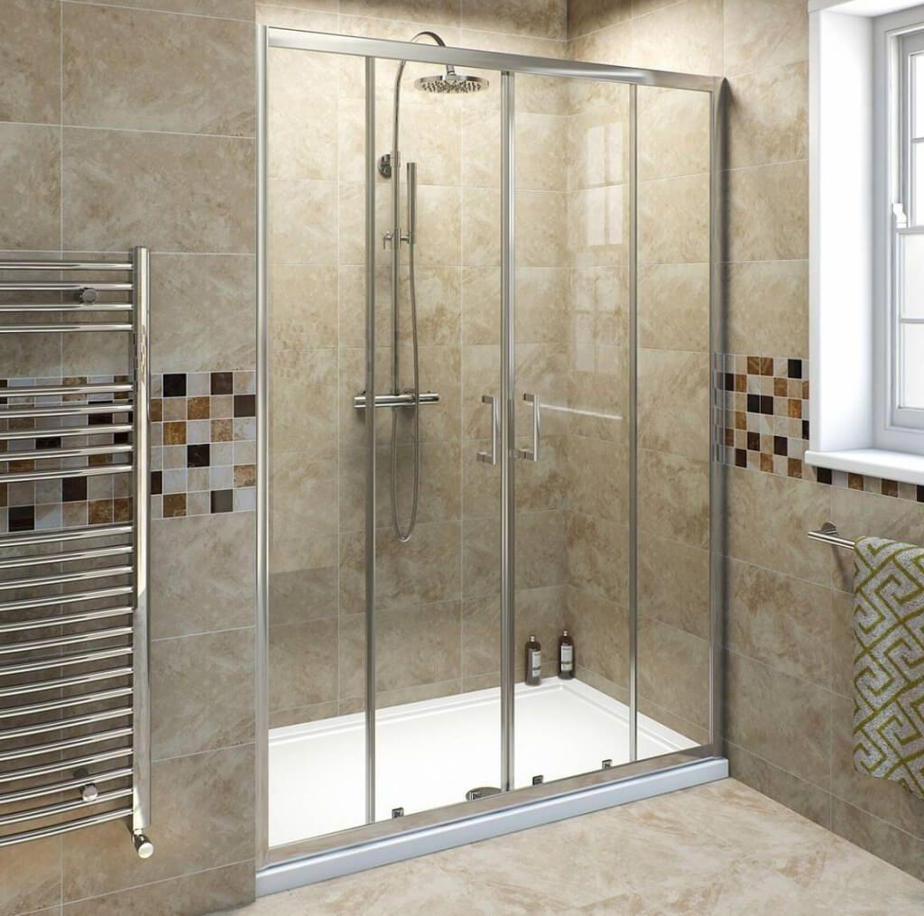 Gold Sliding Shower Doors | http://sourceabl.com | Pinterest ...