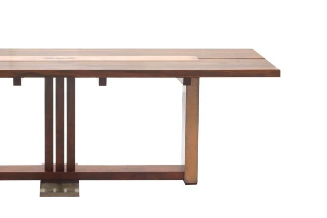 San Andreas dining table in CA BLACK WALNUT and ETCHED COPPER