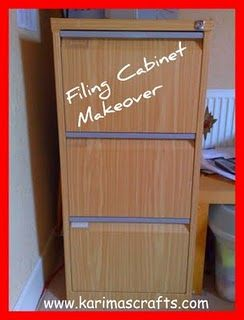Filing Cabinet Makeover   Use Wood Looking Sticky Paper To Cover Metal  Filing Cabinet