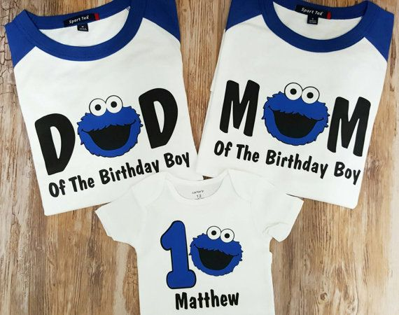 Personalized Cookie Monster Birthday Shirt Family Set 1st