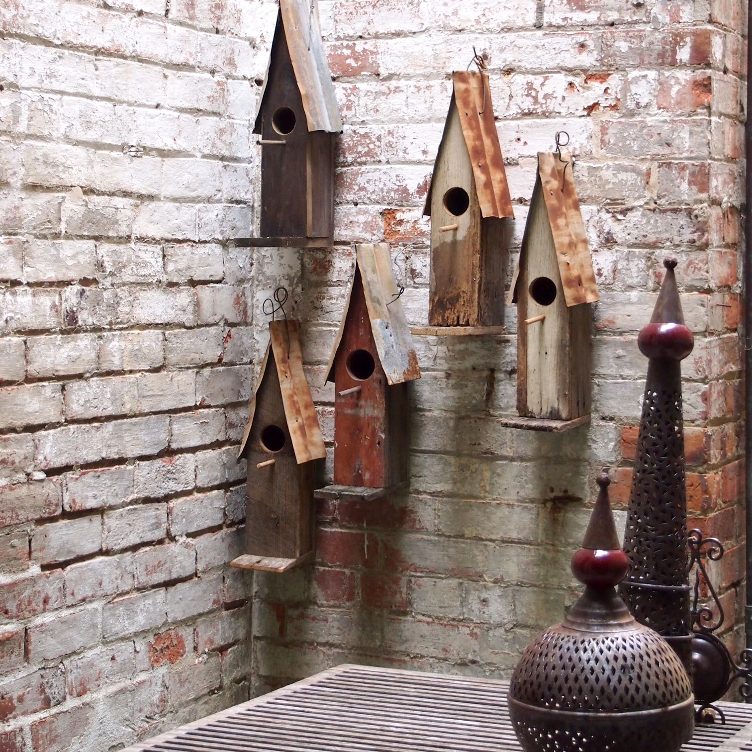 Create A Wall Art Focal Point With A Cluster Of Handmade Birdhouses From Boodle Concepts Made In Melbourne From Re Bird Houses Bird House Handmade Birdhouses