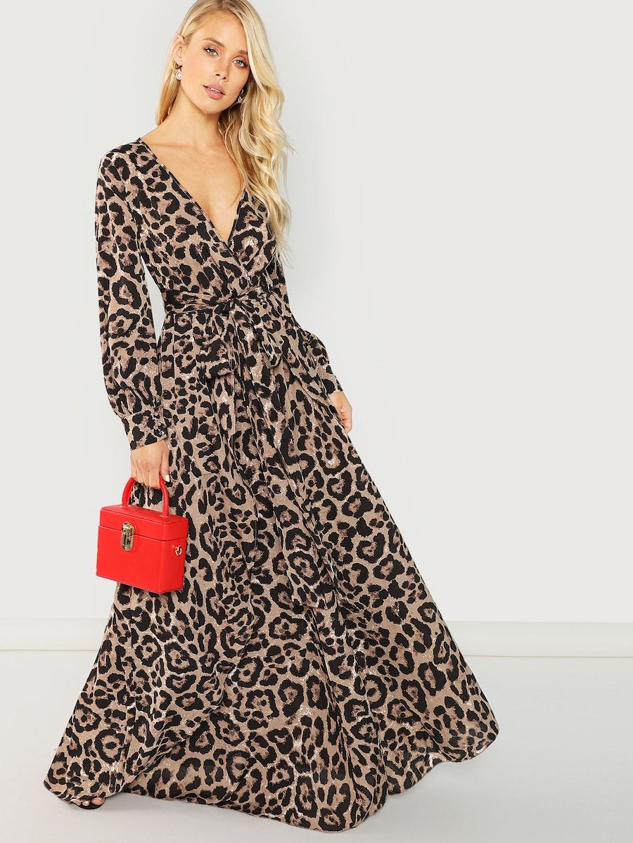 929116c8b7 Surplice Neck Leopard Print Overlap Dress -SheIn(Sheinside) | II ...