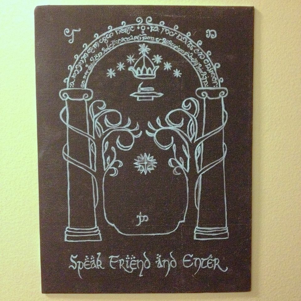 Lord of the rings canvas. LOTR canvas. door of durin. Mines of Moria. Speak friend and enter & Lord of the rings canvas. LOTR canvas. door of durin. Mines of Moria ...