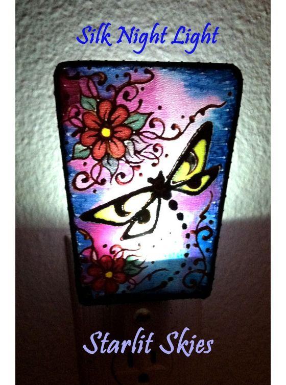 Dragonfly Silk Night Light, handpainted by Cyn Mc $18.00