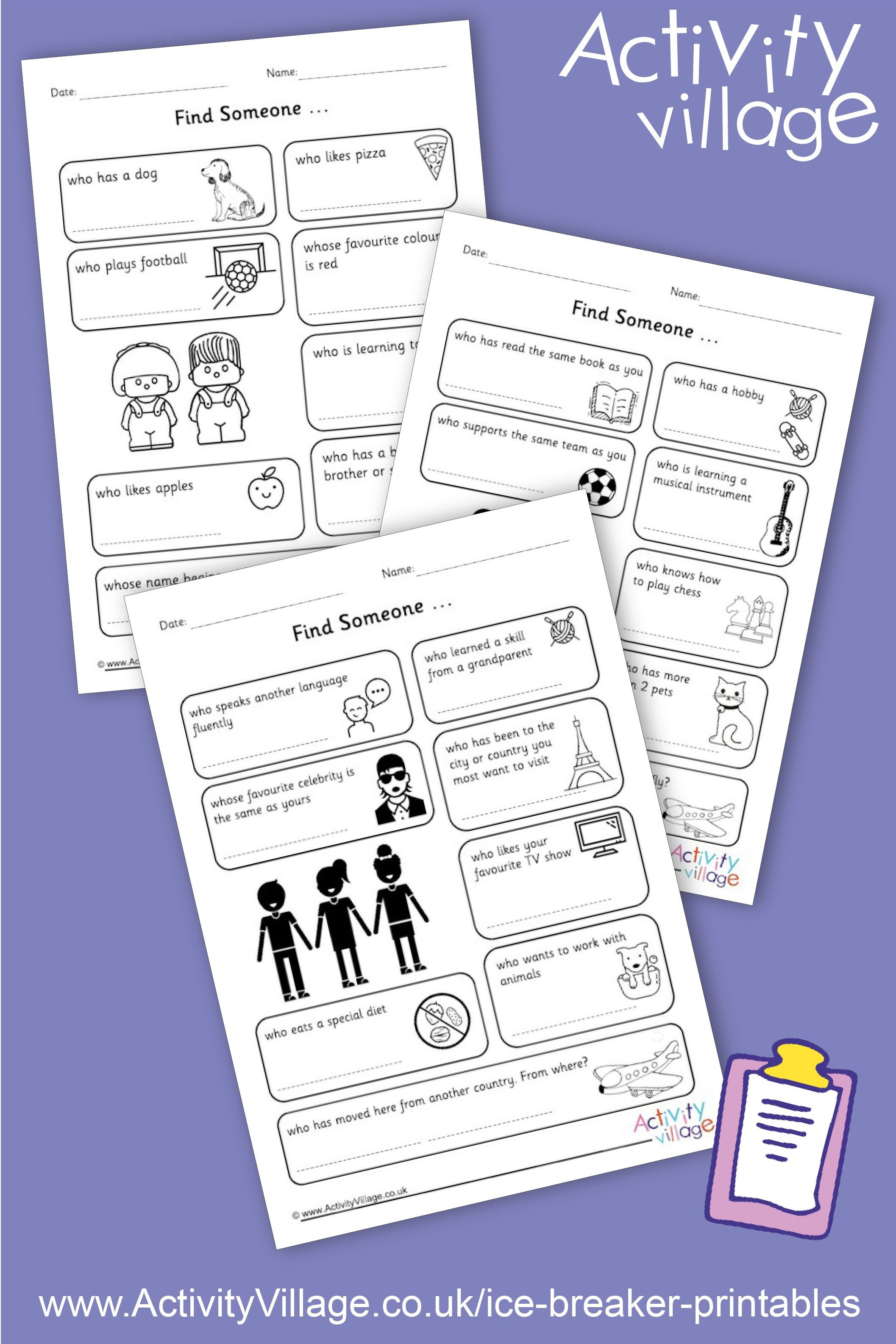 Ice Breaker Printables For Back To School There Are 3