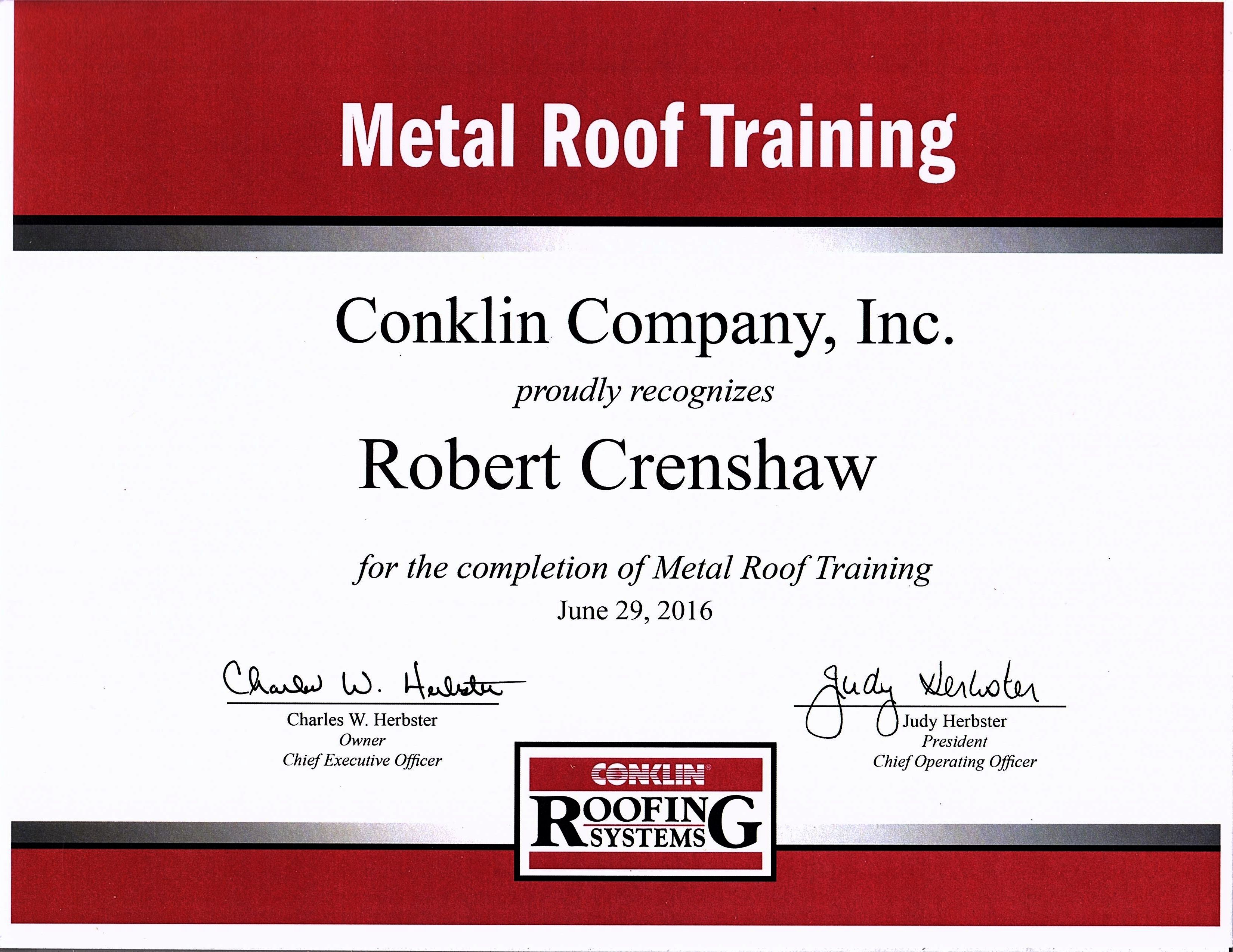 Certified Conklin Contractor Chief Operating Officer Chief Executive Officer Conklin