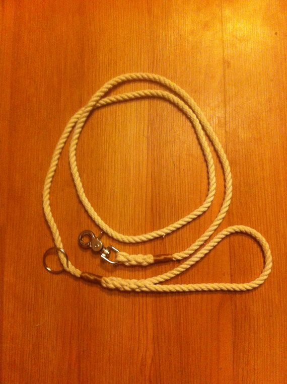 Handmade Cotton Rope Dog Leash Natural with hemp by TheHoundHiker, $20.00
