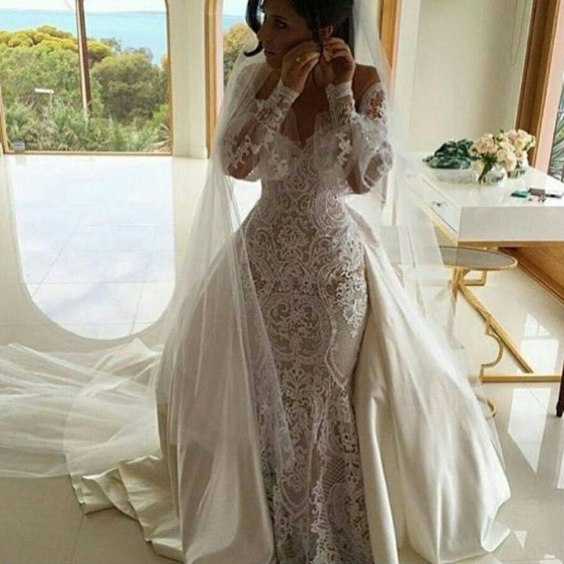 Mermaid Off The Shoulder Long Sleeves Lace Wedding Dress With