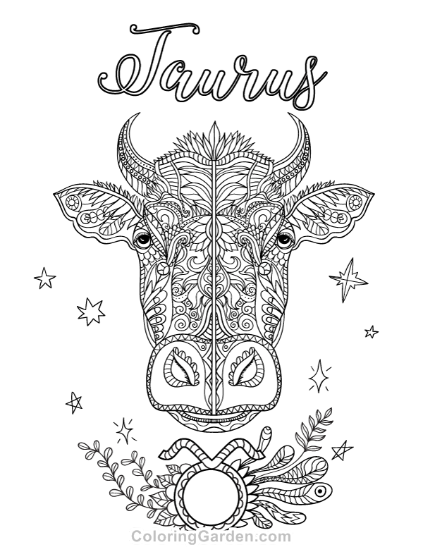 Free Printable Taurus Adult Coloring Page Download It In Pdf