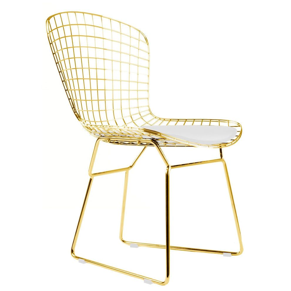 ingenious idea mid century side chair. Gold Wire Side Chair Wireback Mid Century Modern Mesh Dining WHITE  PAD MS