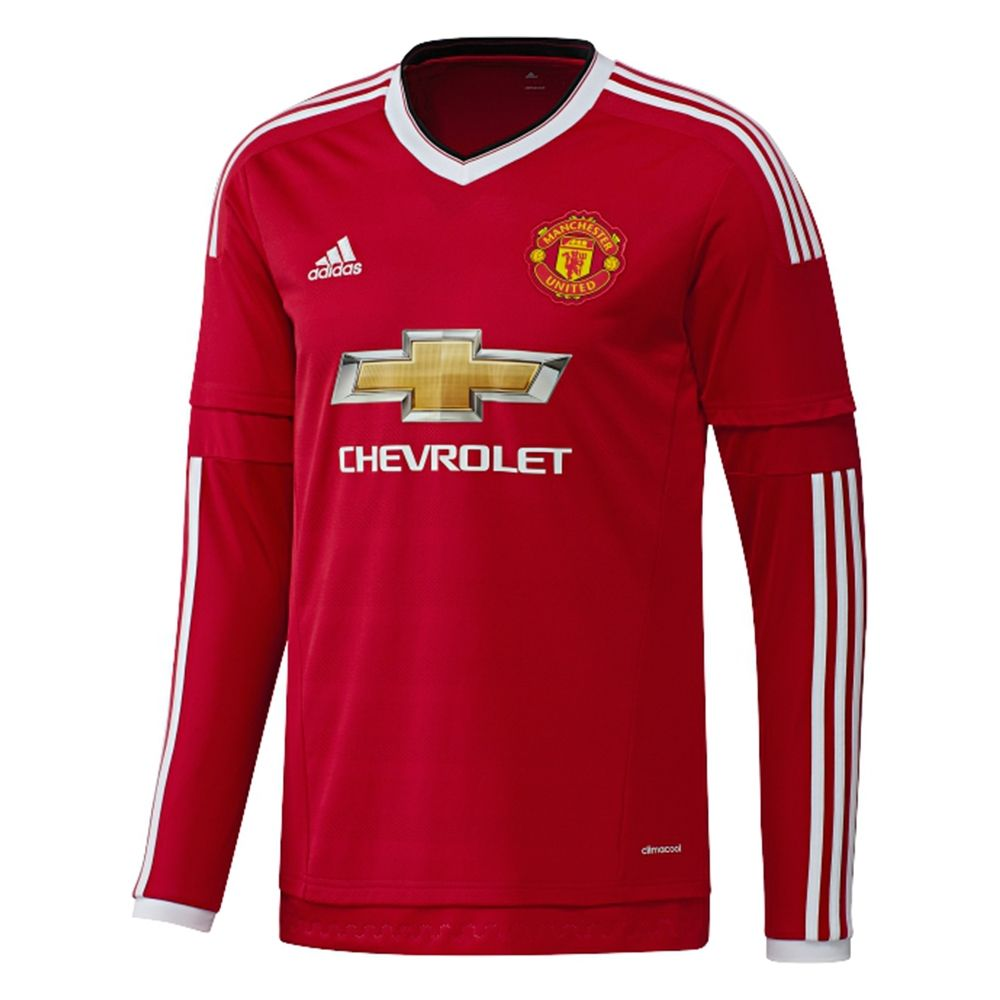 Design t shirt manchester united - The Long Sleeve 2015 16 Adidas Manchester United Home Jersey Will Help To Keep You