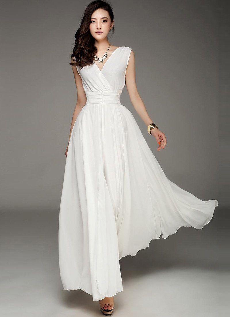Fabricated from sheer chiffon fabric, this elegant white evening ...