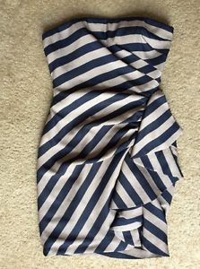 BCBG MAXAZRIA Women's Blue and Beige Striped Sleeveless Fully Lined Size 6 | eBay