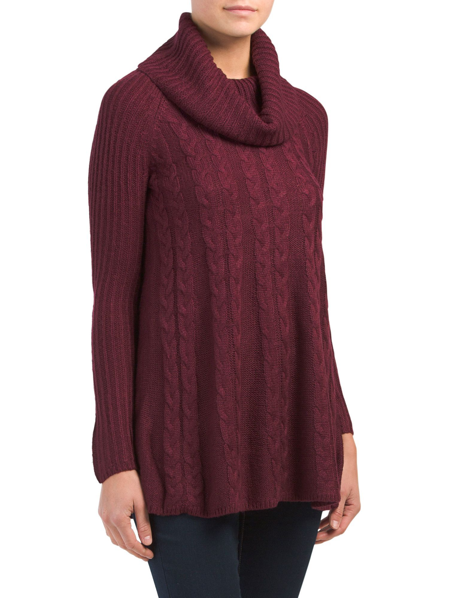 Cowl Neck Cable Knit Swing Sweater   Products   Pinterest   Cowl ...