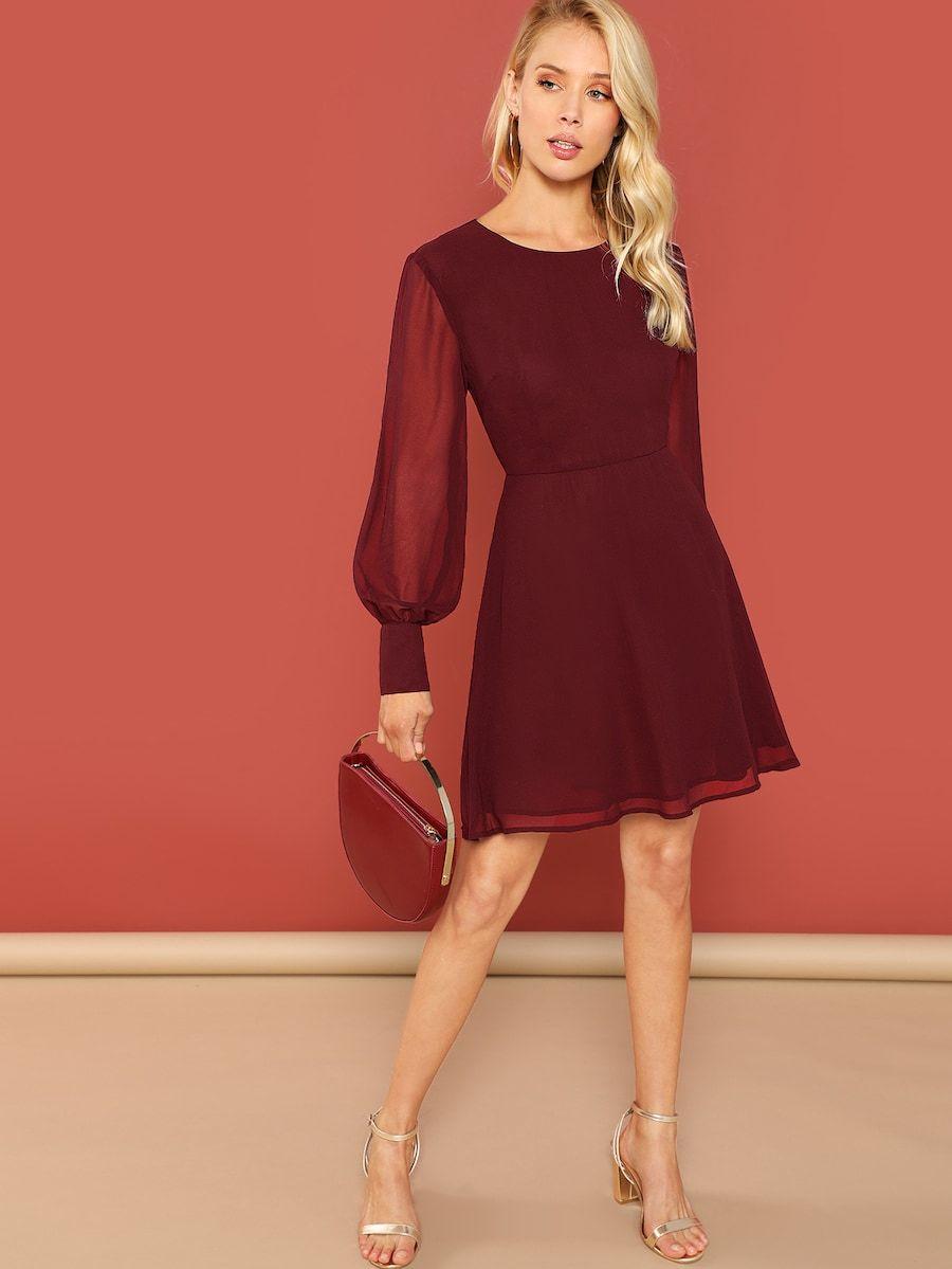 e98b34b20c Sheer Bishop Sleeve Fit & Flare Dress -SheIn(Sheinside) | II DRESSES ...