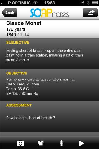 SOAP Notes - a very useful medical app :) https://itunes.apple.com/us/app/soap-clinical-notes/id637567661?l=pt&ls=1&mt=8