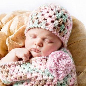 Newborn Crochet Bunting and Hat | Manta crochet bebe, Crochet bebe y ...