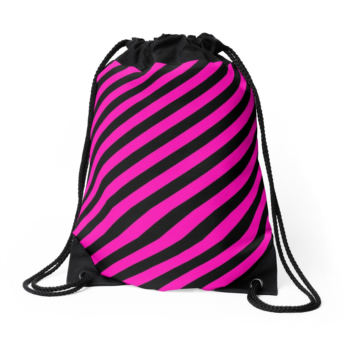 Bright Hot Neon Pink and Black Candy Cane Stripes Custom