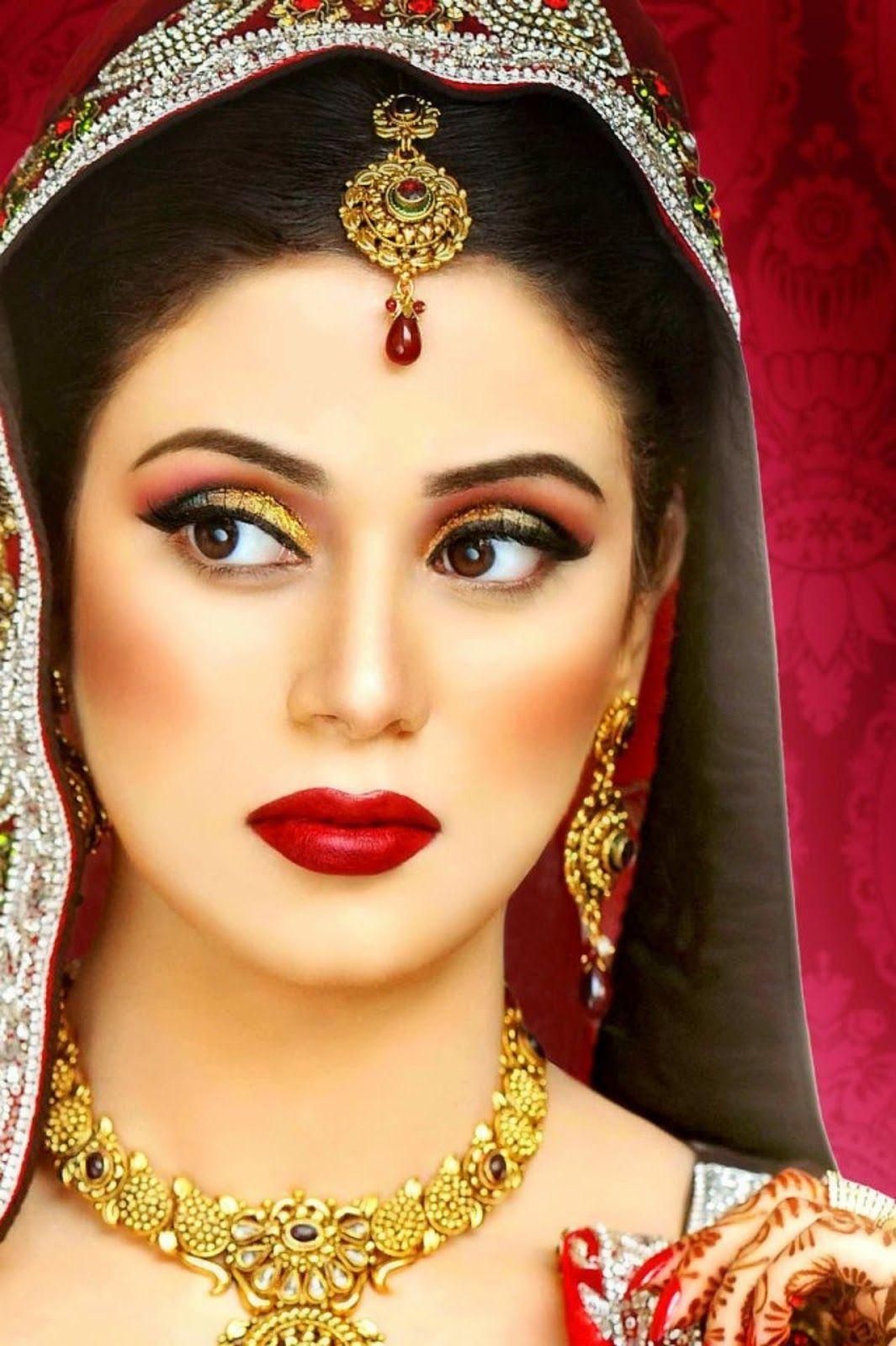Indian Dulhan New Look Makeup Ideas 2014 For Girls Image Download Pakistani Bridal Makeup Bridal Makeup Indian Bridal Makeup