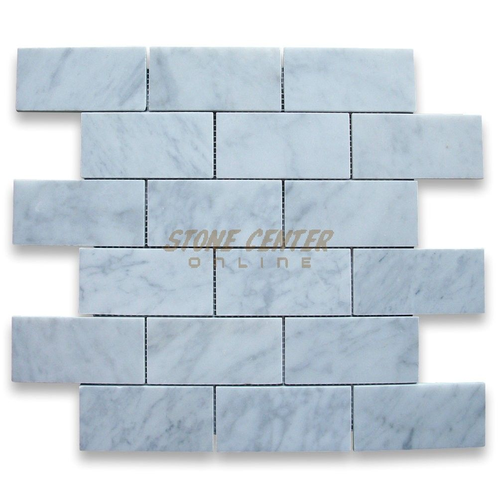 Kitchen Backsplash - Carrara White 2x4 Grand Brick Subway Mosaic ...