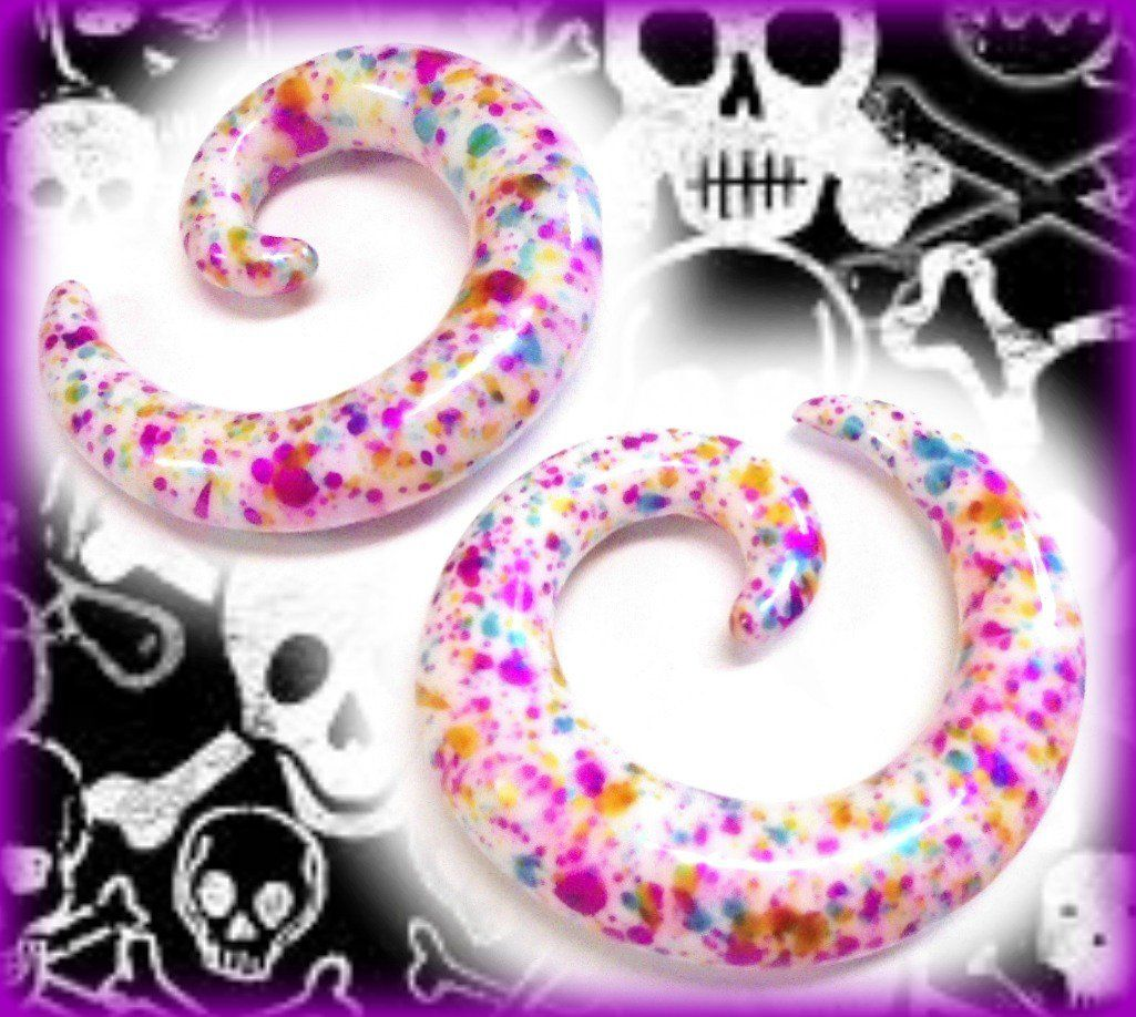 A brand new set of spiral ear gauges for those with stretched earring holes. White with multi-colored paint-like splashes all over.    Comes with 2 sp