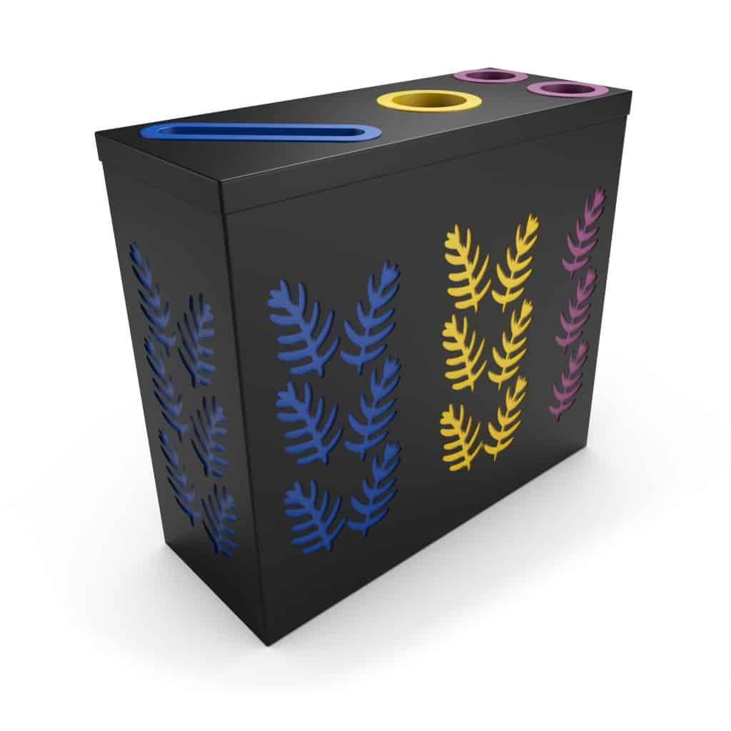 Sao Tri Noir Poubelle De Tri Selectif 2 Compartiments Collecteur