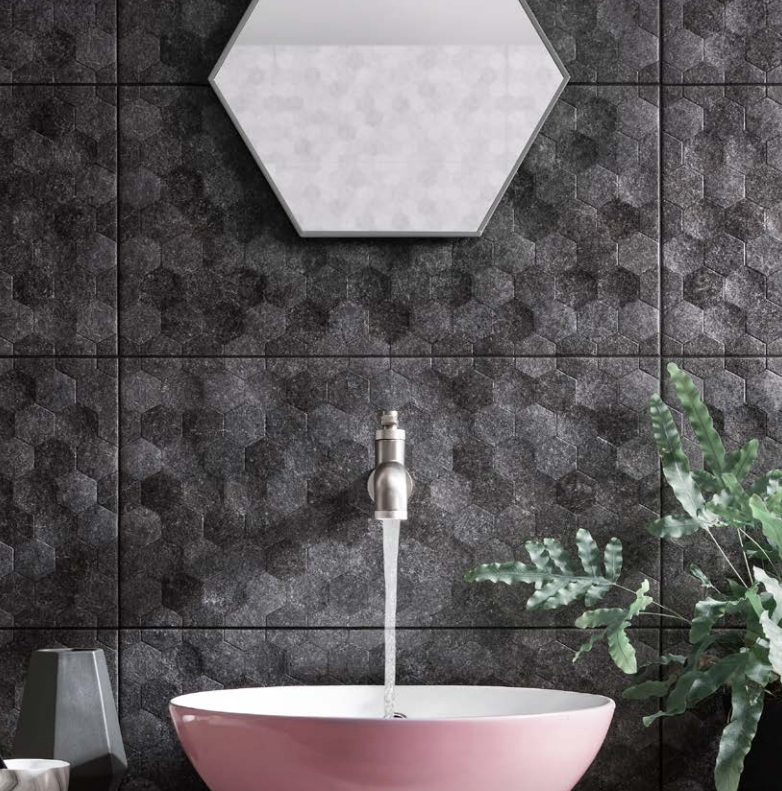 Gemini Buxy Antracita Hexagon Tile 600x300mm Hexagon Tiles Horncastle Glazed Ceramic