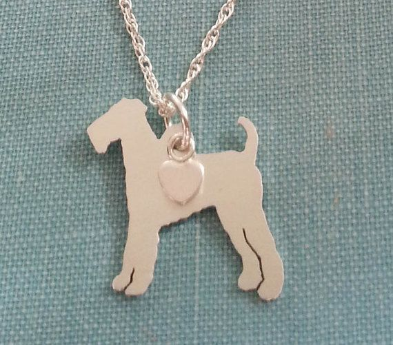 Airedale Terrier Dog Necklace Sterling Silver by DiBAdog on Etsy