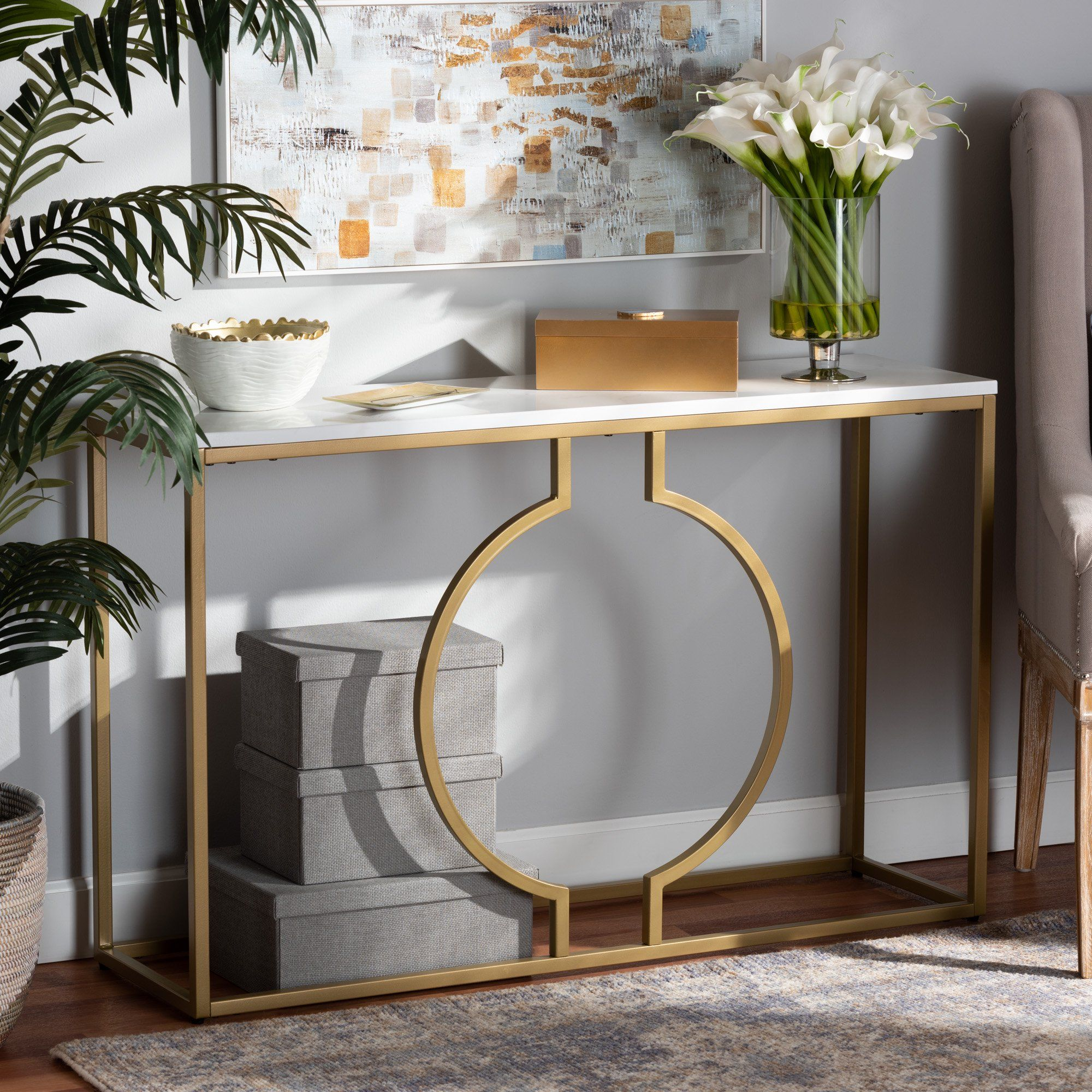 Baxton Studio Caldwell Modern And Contemporary Gold Finished Metal Console Table With Faux Marble Tabletop Walmart Com Metal Console Table Contemporary Console Table Marble Console Table