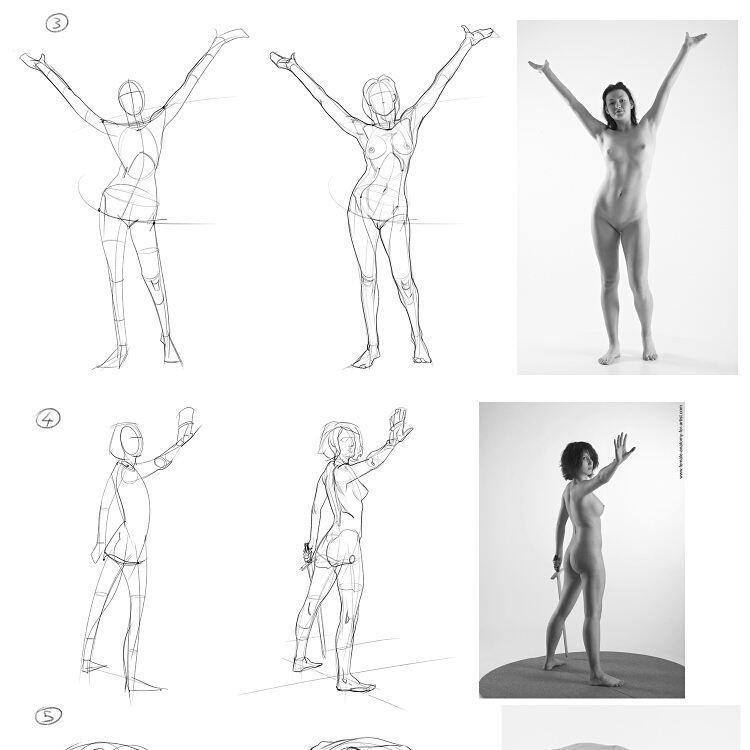 A bunch of quick gesture drawings from photo reference, done for ...