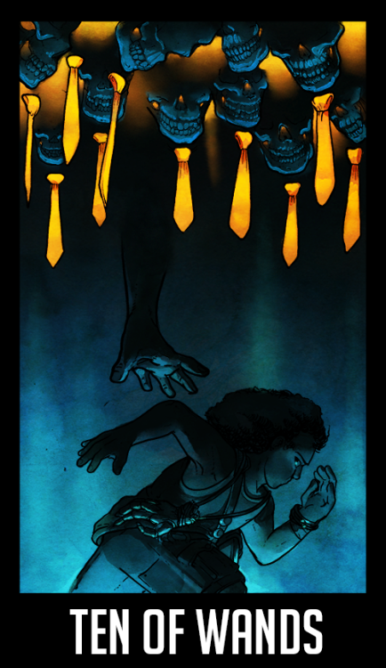 "WTNV Tarot10 OF WANDS - Parade Day""The burden may be too great. Atlas holding the world on his shoulders Victory cannot be achieved alone.""One person alone can start a revolution, but it takes the will of many to complete it.Click Here for the Masterpost of WTNV Tarot Cards!"