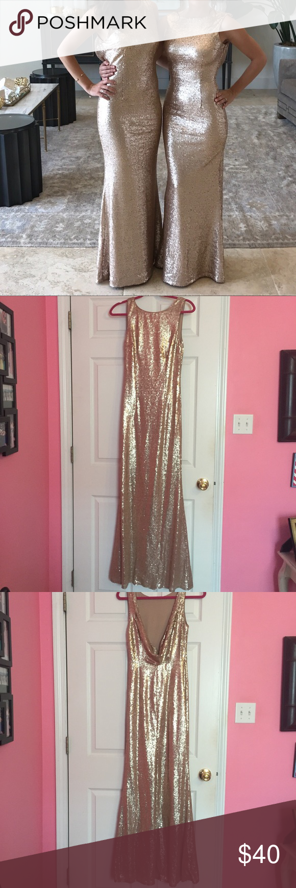 Lulus rose gold formal sequin maxi dress lulus rose gold sequin maxi